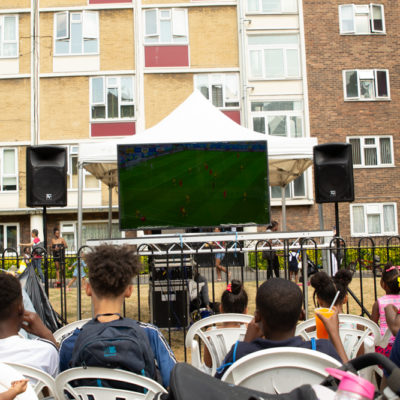 Locals gather to watch the World Cup Semi Finals